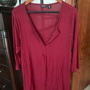 Tunic, Dark Brick-Red, Three-Quarter Sleeves